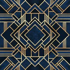 Symmetrical art deco design of dark blue shapes bordered with intricate gold lines. Art Deco Blue Wall Art by Elisabeth Fredriksson from Great BIG Canvas. Art Nouveau, Moda Art Deco, Jugendstil Design, Estilo Art Deco, Art Deco Stil, Canvas Art, Canvas Prints, Big Canvas, Free Canvas
