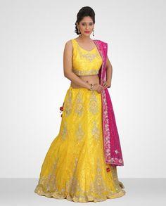 Enthralling Sunflower Yellow Net with Chandelier Designer Lehenga