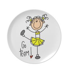 Yellow Stick Figure Cheerleader T-shirts and Gifts Dinner Plate Drawing Lessons For Kids, Art Lessons, Stick Figure Drawing, Doodle People, School Murals, Stick Art, Painted Plates, Painted Ornaments, Stick Figures