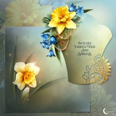 Daffodils, Iris and Chrysanthemum is what I have chosen to create my bouquet. Moonbeam's Spring Bouquet is an eclectic floral expression of vibrant colors to welcome spring in all its glory. Package contains a selection of pre-made background papers and tags, ready to use quickpages, matching papers and standalone vignettes. Everything included in this package is saved in .png format and saved at 300 dpi. None of the elements provided in this collection can be re-packaged as-is as element