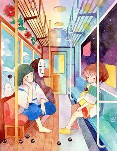 This is beautiful All Studio Ghibli Movies, Studio Ghibli Art, Totoro, Chihiro Y Haku, Howl And Sophie, Anime Lindo, Girls Anime, Howls Moving Castle, Animation