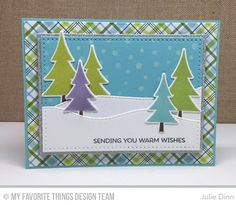 Oh Christmas Trees Stamp Set and Die-namics, Stitched Snow Drifts Die-namics, Blueprints 2 Die-namics, Rectangle STAX Set 1 Die-namics, Cross-Stitch Rectangle STAX Die-namics, Snowfall Stencil - Julie Dinn  #mftstamps