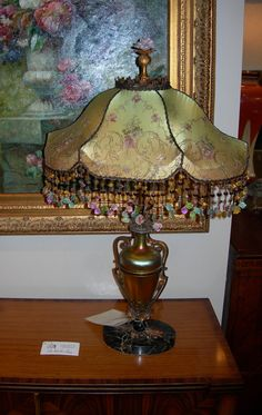 Original Antique Marble Ormulu Tole lamp by Steuben by Bellasoiree, $3600.00