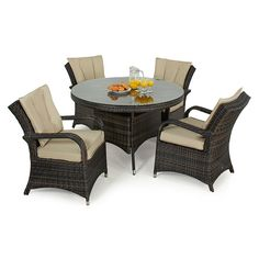 The Maze Rattan Texas 4 Seat Rattan Dining Set   Round Table Is A Cosy  Furniture Group That Invites You And Your Family Out Onto The Patio For An  Morning ...