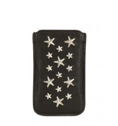 Height: 13cm Width: 8cm Depth: 0.4cm . Silver coloured metal studs . Suitable for iPhone models . Made in Italy
