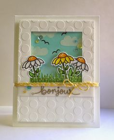 Lawn Fawn - Bonjour! I love the frame effect and dimensional look of this card!