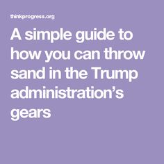 A simple guide to how you can throw sand in the Trump administration's gears