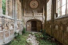 Inside an abandoned church in France
