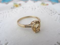the perfect vintage antique engagement ring in citrine prasiolite and pearls on gold statement ring - Bohemian Wedding Rings