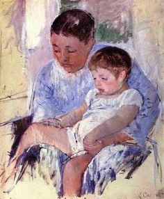 Jenny and Her Sleepy Child, 1891 by Mary Cassatt. Impressionism. genre painting. Private Collection