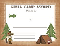 Free Printable girls camp award certificate