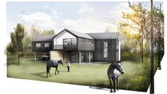 Meadow House Modern Residential new build Contemporary Winchester Hampshire Architects. Photoshop Architecture Render.