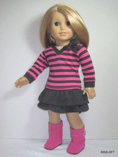 "Striped Top+Black Skirt+Hot Pink Boots Set Doll Clothes Fits 18"" American Girl   #Unbranded"