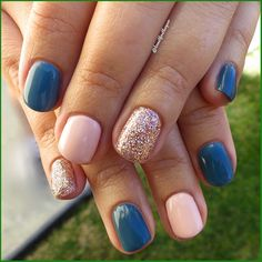 Toe Nails, Pink Nails, Blue Nail, Nail Color Combinations, Short Gel Nails, Gel Nails At Home, Manicure Y Pedicure, Pedicures, Mani Pedi