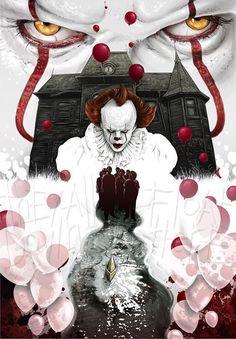 Le Clown, Creepy Clown, Marvel Movie Posters, Marvel Movies, Arte Horror, Horror Art, Es Stephen King, Stephen Kings, Scary Movies