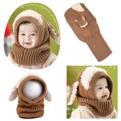 Cute Winter Kintted Hat Ear Puppy Caps Unisex Toddlers Babies Scarf Coif Hood One-Piece Warm Children Gifts coffee Online Shopping Knitted Hats, Crochet Hats, Winter Knit Hats, Baby Scarf, Odense, Scarf Design, Cute Hats, Animals For Kids, Baby Hats