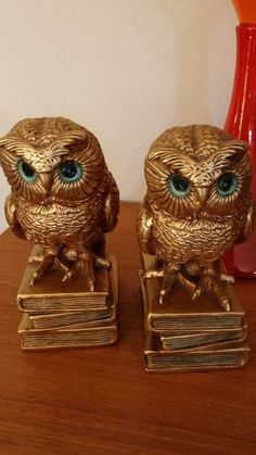 1966 Progressive Arts Products Chalk Ware Owl Bookend Pair NO Damage Or Issues !