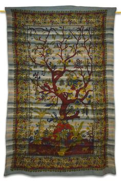 Beautiful Indian Screen Printed Cotton Blend Nature Print Tapestry or Bed Cover in Twin size.