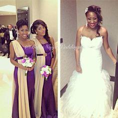Pretty in Purple! Nigerian wedding in Dubai. Bridesmaid/bridesmaids Dresses by Dzyn Babe in Abuja. Photo via Bellanaija Weddings Instagram