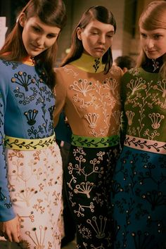 Swarovski embellished dresses backstage at Peter Pilotto AW15 LFW. See more here: http://www.dazeddigital.com/fashion/article/23773/1/peter-pilotto-aw15