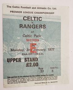 Celtic v Rangers Upper Stand Ticket : Postponed Game 3rd Jan 1977 Rare
