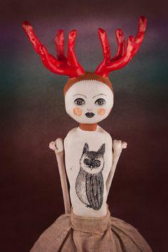 Art Doll with Antlers Deer Sculpture Handmade by DoubleFoxStudio $560