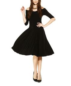 Another great find on #zulily! Black Off-Shoulder Fit & Flare Dress #zulilyfinds