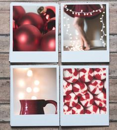 Red Polaroid Holiday Cards, Set of 8 by Pockets of Film - A different take on the traditional greeting card, these polaroid cards highlight the beautiful details of the holiday season with lovely photographs. The inside is blank so you can share all those cookie recipes, holiday memories and well wishes with your favorites.  $15.00  @scoutmob