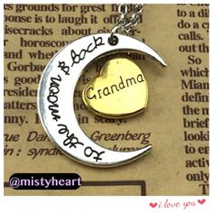I Love You To The Moon And Back Grandma I Love You to the moon and back on both sides of the Moon Pendant, Grandma Word on both sides of the heart pendant   MaterialWhite-gold plated, highly polished Stones/ColorNo Stones Moon Pendant Size1.125 Inch Wide (across the moon) * 1.125 Inch High (Please refer to the photo of this item being compared to the size of a quarter coin) Chain LengthApprox. 25.5 Inch Long Chain with Lobster Claw Clasp(24 inch long link chain with 1.5 inch extension)…