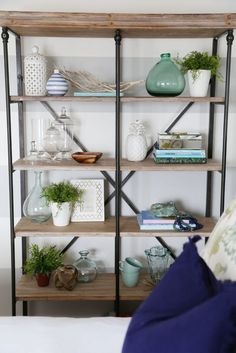 Crestview Collection La Salle Bookshelf in Serene Blue Guest Bedroom Makeover by Life On Virginia Street - Love the raw wood with the metal piping combination! Life On Virginia Street, Bookcase Styling, Spring Home, My Living Room, Small Living, Home Decor Inspiration, Design Inspiration, Design Ideas, Diy Home Decor