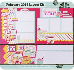 Premier Scrapbook Designs: February 2014 Scrapbook Layout Kit & Card Kit Featuring I Love Candy Collection by Echo Park Paper Co.