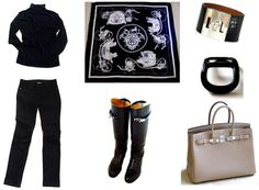 Capsule wardrobe pieces: black jeans, blazer and roll neck sweater Shoes: black box Jumping boots Accessories: Hermès 'Ex-Libris' cashmere GM, Kelly Dog bracelet in black croc and Birkin in gris tourterelle