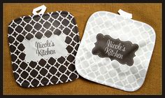 Oven Mitt Pot Holder Monogrammed Gift Personalized by ChicMonogram