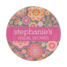 Hot Pink & Lime Green Flowers - Bridal Shower 7 Inch Paper Plate