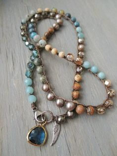 Earthy crochet necklace Topanga Blues blue tan by slashKnots. Love this designer's work!