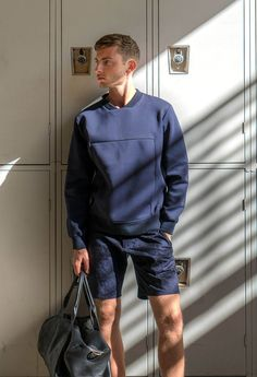 @thismintymoment in our Core L/S Neosweat Navy and Cigarette Short Fog Navy Jacquard on an exclusive shoot.
