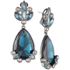 Givenchy Hematite-Tone Clear & Blue Crystal Drop Earrings ($195) ❤ liked on Polyvore featuring jewelry, earrings, hematite, clear crystal earrings, blue jewellery, hematite jewelry, clear crystal jewelry and clear crystal drop earrings