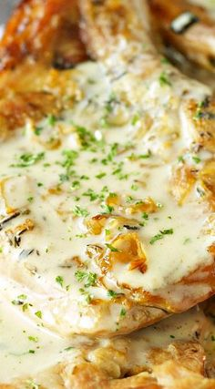 Crockpot Pork Chops with Creamy Herb Sauce ~ Says: They turn out juicy and fall apart tender. Top them off with a creamy gravy perfectly seasoned with your favorite herbs and you have a winner.