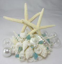 Beach Wedding Starfish Cake Topper - Wedding Cake Topper w 2 White Starfish, Sea Glass & Seashells. $59.00, via Etsy.