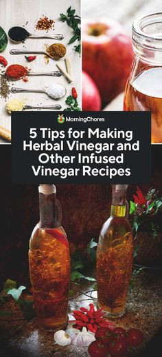 5 Tips for Making Herbal Vinegar and Other Infused Vinegar Recipes - KİARA How To Make Vinegar, How To Make Homemade, Infused Vinegar Recipe, Saffron Recipes, How To Cook Kale, Diy Food Gifts, Brunch, Infused Oils, Infused Water