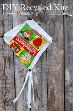 DIY Kids' Recycled Kite Craft--great idea for kite unit or during earth week!