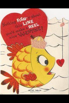 Bass fishing My Funny Valentine, Diy Valentines Cards, Valentine Images, Vintage Valentine Cards, Little Valentine, Vintage Greeting Cards, Vintage Holiday, Happy Valentines Day, Valentine Ideas