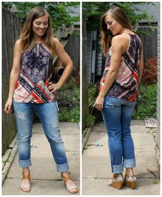 I LOVE this Lissane Keyhole Halter Top (by Renee C)  and Ruxin Distressed Boyfriend Jean (by Mavi)