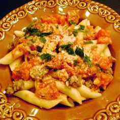 Penne with Spicy Vodka Tomato Cream Sauce Allrecipes.com - One of Zack & my favs!