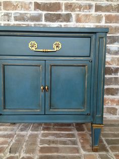 Annie Sloan Chalk Paint In Aubusson Blue With Gold Gilding Wax Accents.