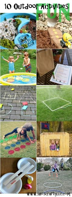 10 Fun Outdoor Activities.  Some DIY ideas and how to's.  Play city, water table worlds, chalk games, pool games, tents & forts, and more!  www.shescraftyllc.com Fun Outdoor Activities, Pre K Activities, Outdoor Games, Craft Activities For Kids, Outdoor Play, Summer Activities, Kids Crafts, Summer Pool, Summer Fun