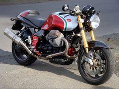 2004 V11 Coppa Italia modified with V11 Sport clipons, Rizoma mirrors, California gauge face plate.