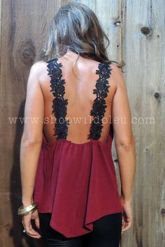 The Raleigh | Wild Bleu! Black & Maroon v-neck tank with lace straps