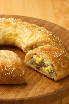 ###Breakfast bake with warm flaky crust around fluffy eggs and sausage!