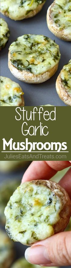 Stuffed Garlic Mushrooms ~ These quick and easy stuffed mushrooms are rich and full of flavors thanks to garlic, butter, parsley and cheese stuffing. They are the perfect small bite appetizers! via @julieseats